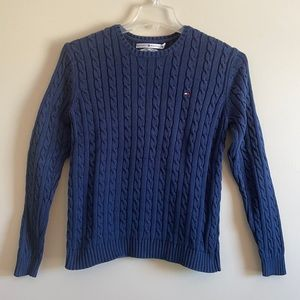 Tommy Hilfiger Navy Blue Cable Knit Sweater Size Large